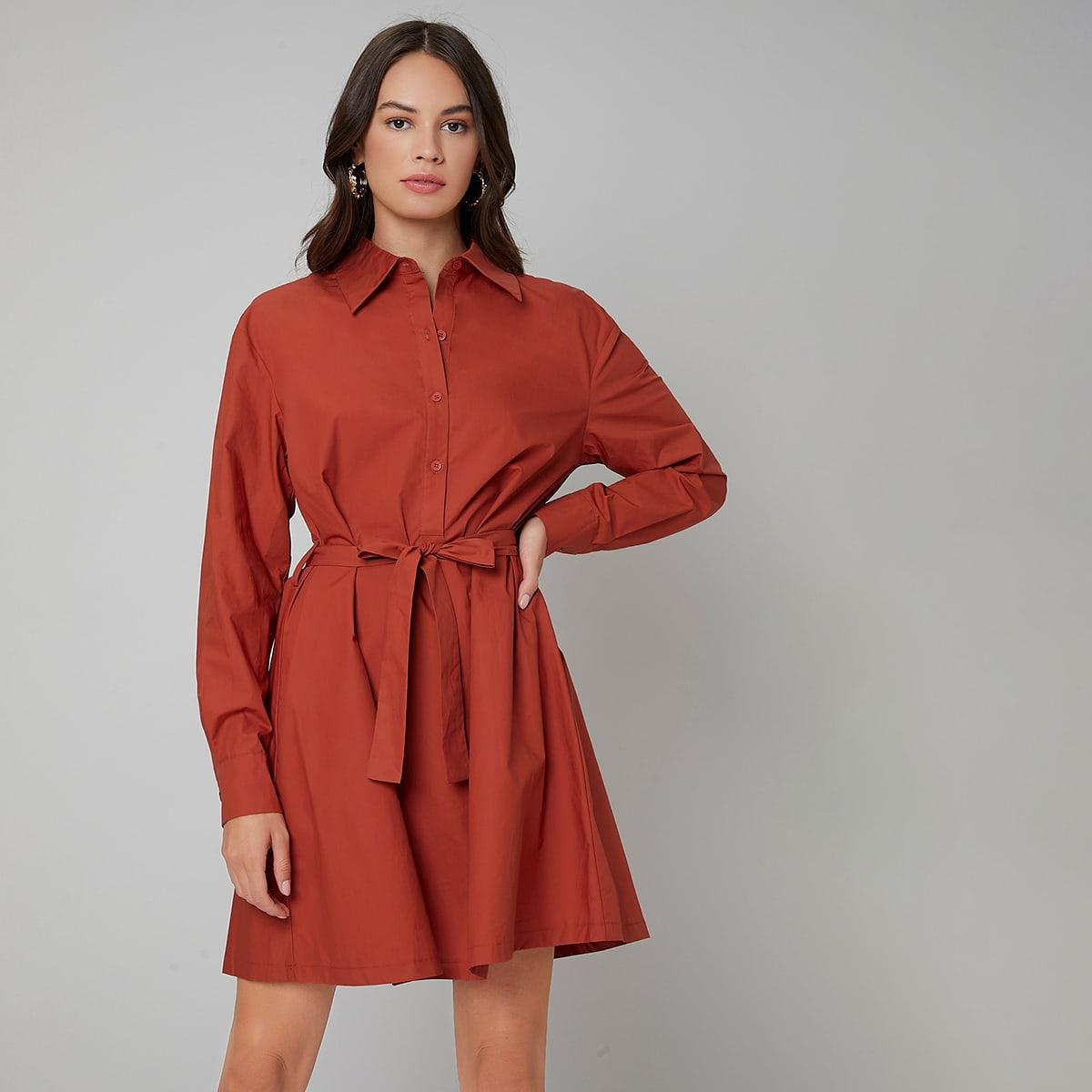 Solid Belted Shirt Dress