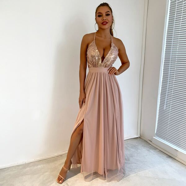 Sequin Bodice Backless Mesh Cami Prom Dress, Champagne
