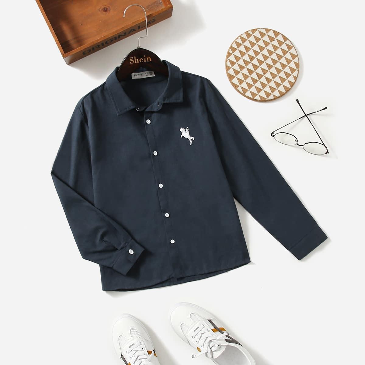 Школьная рубашка с вышивкой для мальчиков