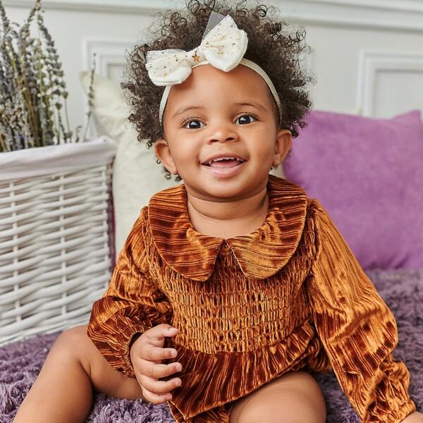 Baby Girl Velvet Shirred Peter Pan Collar Bodysuit, Brown