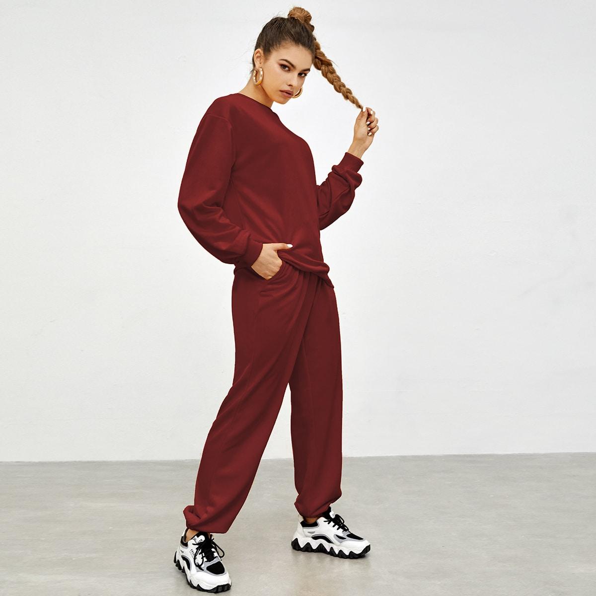 Вязаный пуловер и спортивные брюки SheIn sw2107153149944065