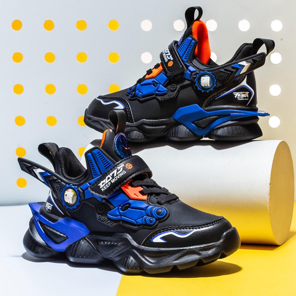 Детские контрастные кроссовки на липучке SheIn sk2107159690071917