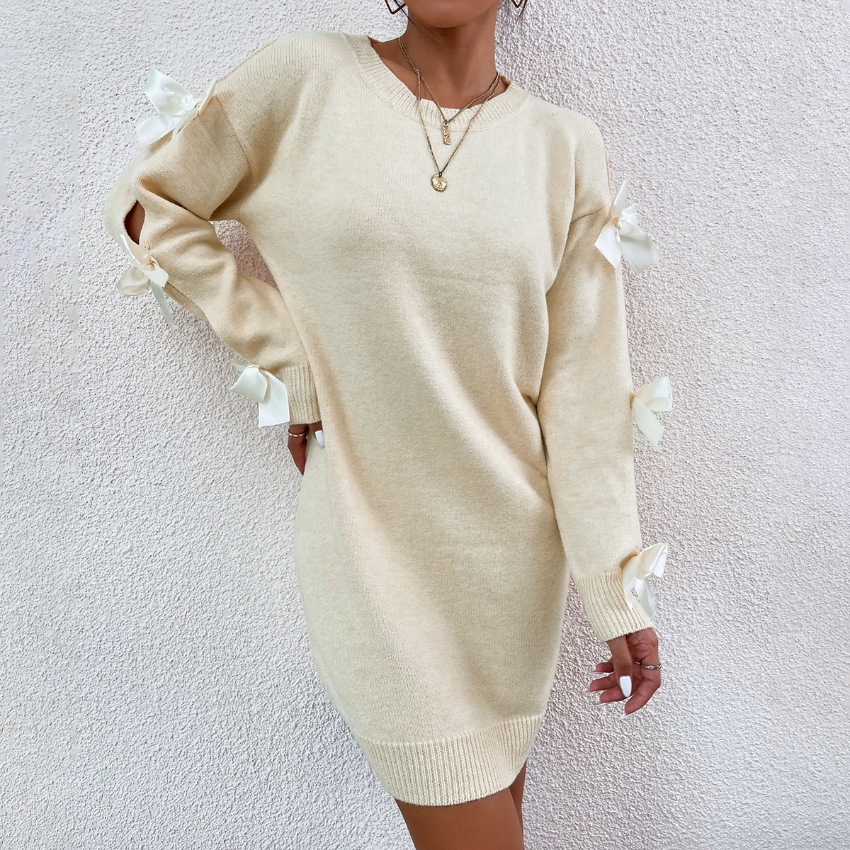Drop Shoulder Decor Bow Sweater Dress, SHEIN  - buy with discount