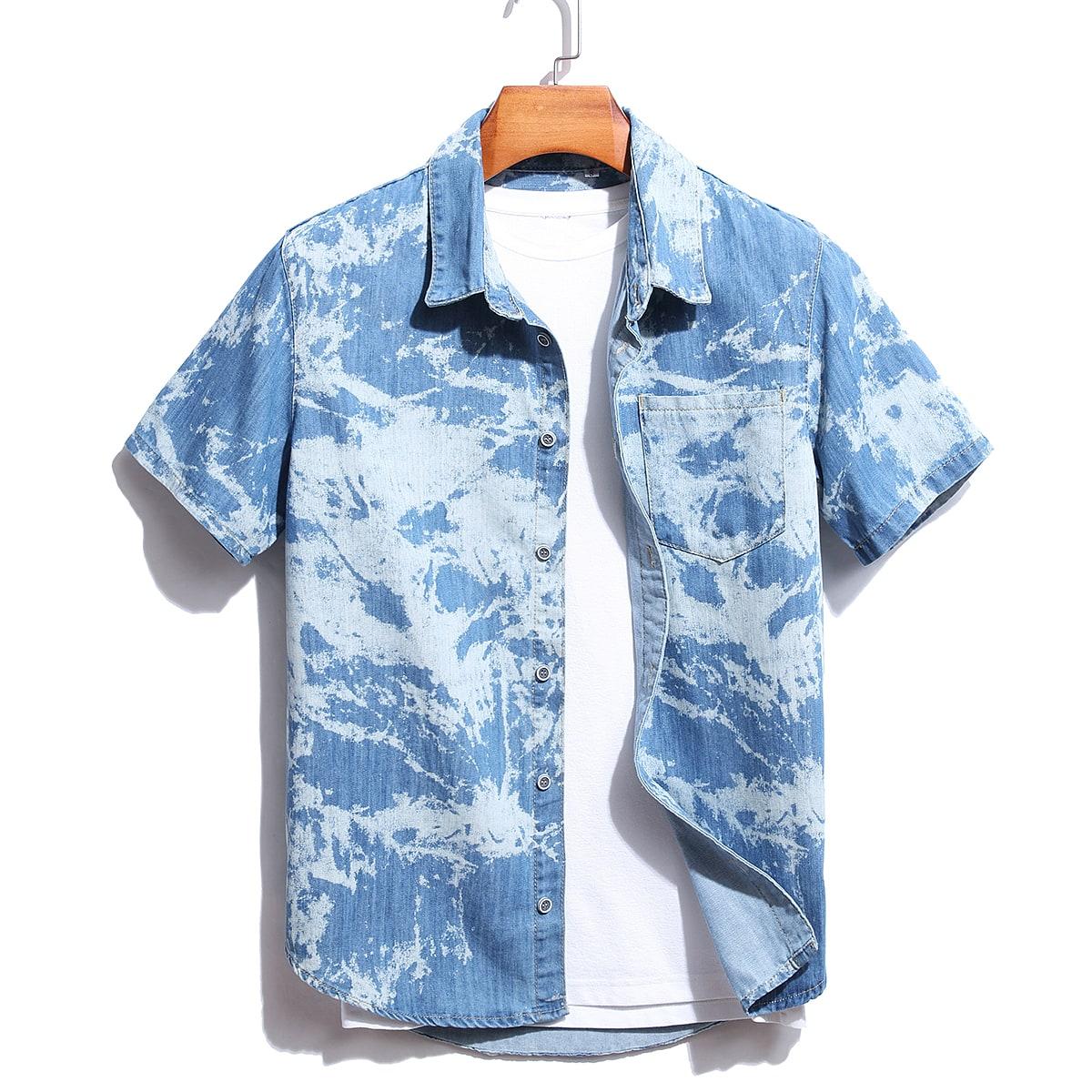 Мужской 1шт Джинсовая рубашка контрастный
