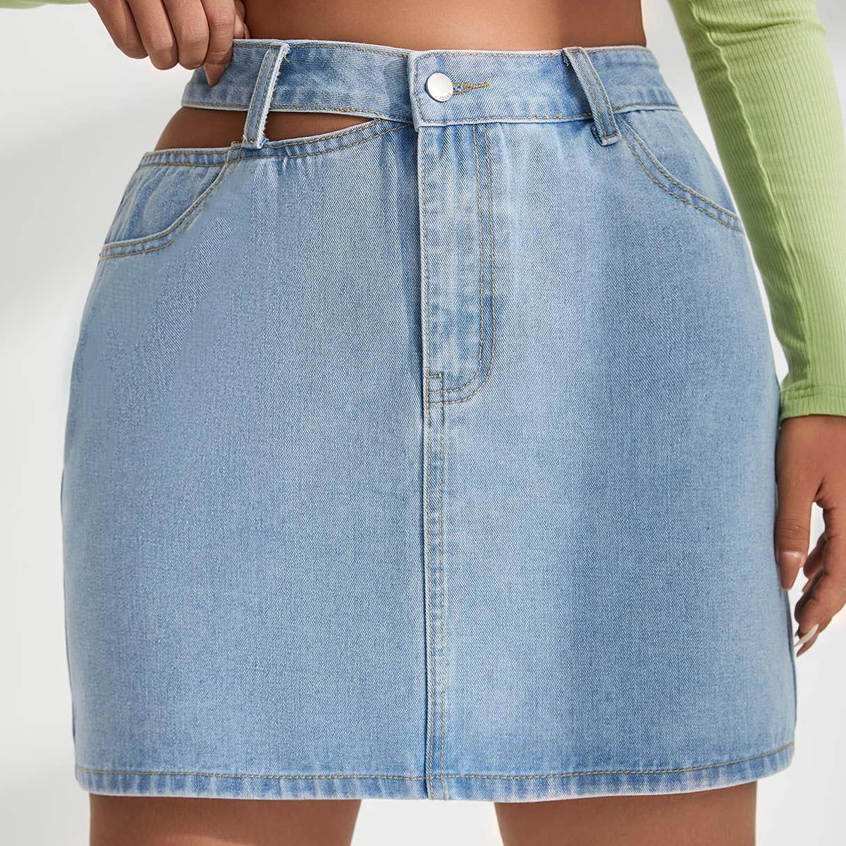 размера плюс Джинсовая юбка