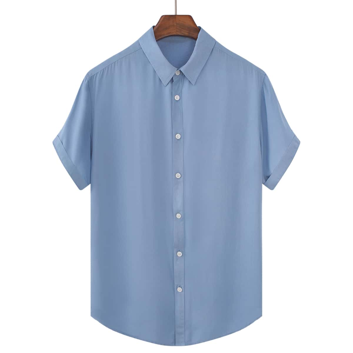 Мужская однотонная рубашка на пуговицах
