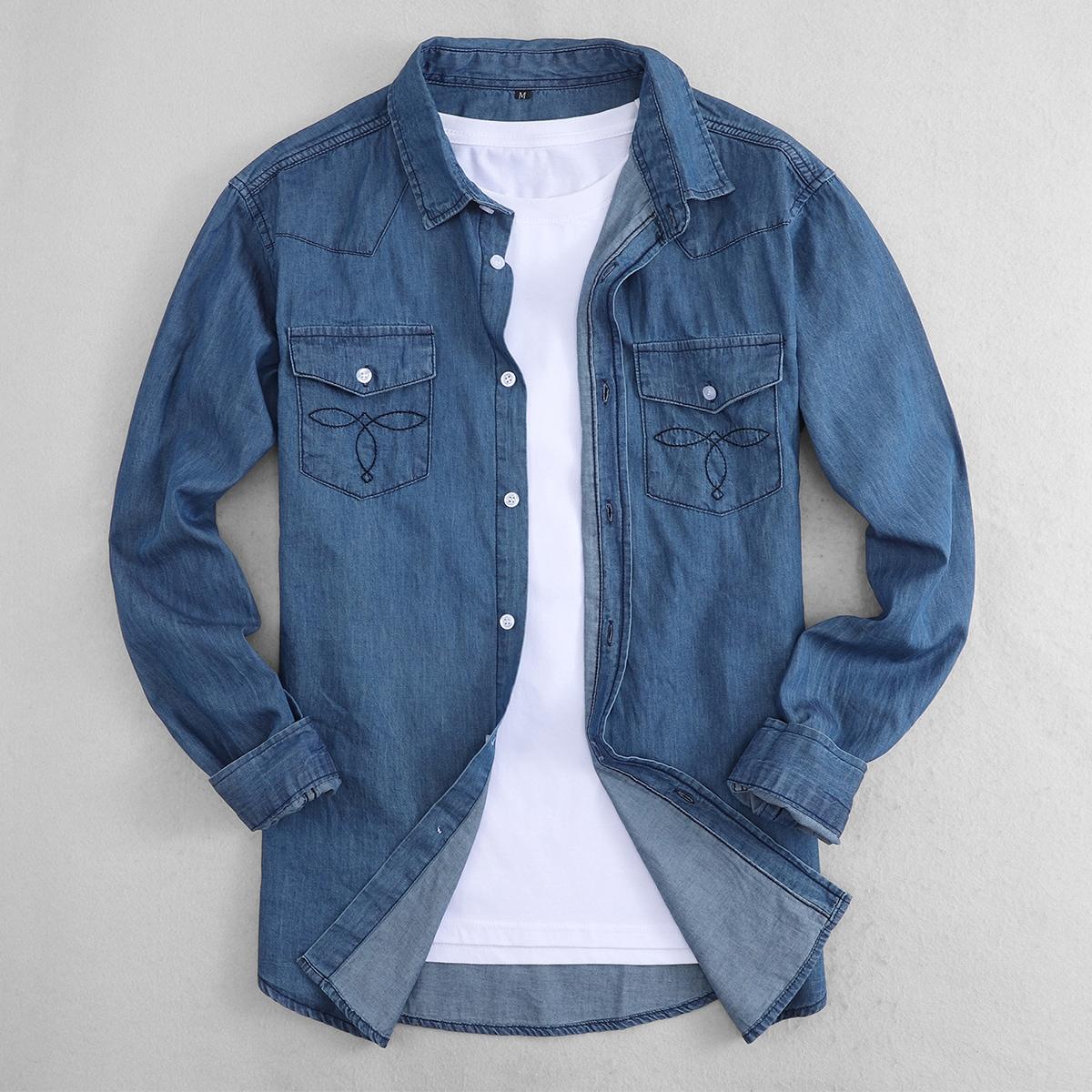 Мужской Джинсовая рубашка геометрической вышивкой с карманом