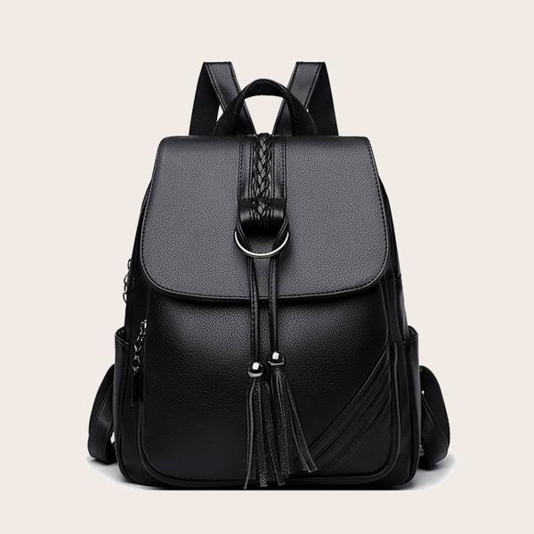 Tassel Decor Flap Backpack, Black