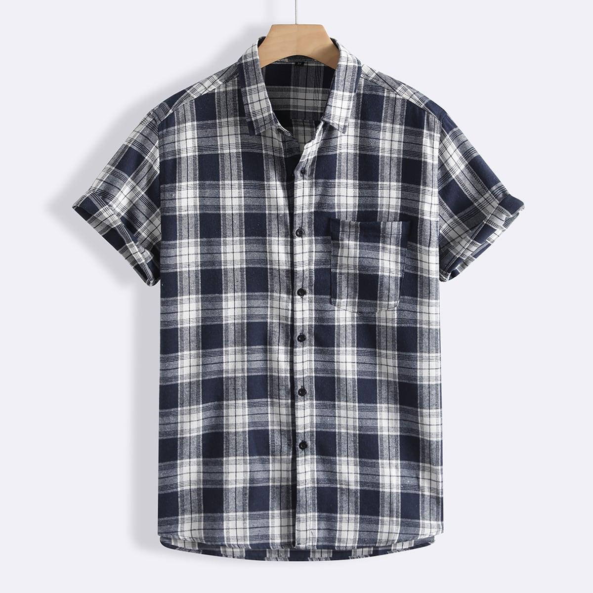 Мужской Рубашка в клетку с карманом на пуговицах SheIn sm2107099229121271