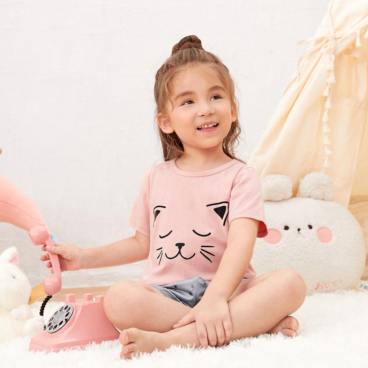 Для девочек Пижама с мультипликационным узором SHEIN. Цвет: многоцветный