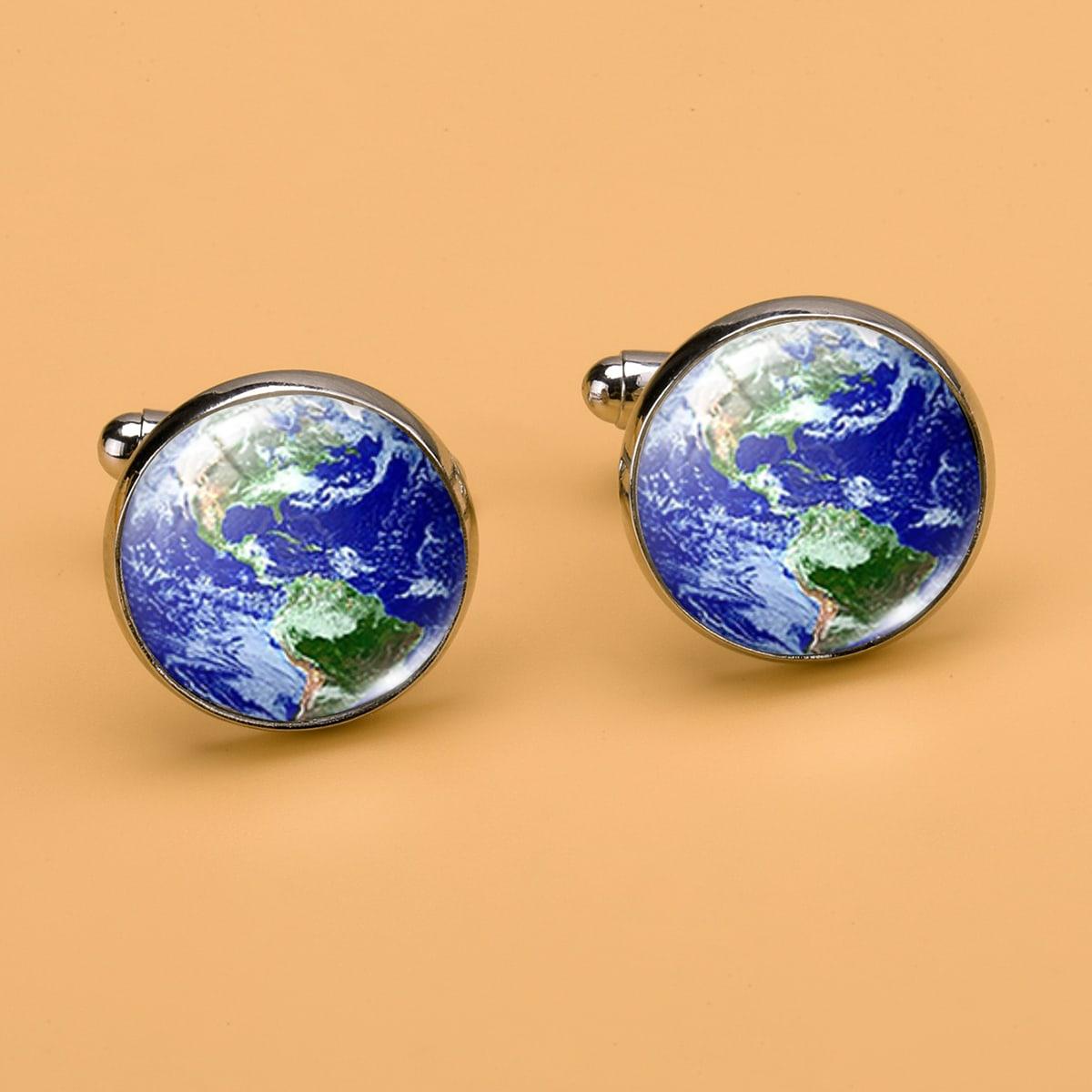 Мужской Запонки земля с рисунком круглый