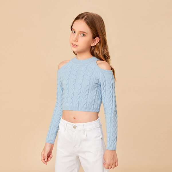 Girls Cold Shoulder Cable Knit Sweater, Dusty blue
