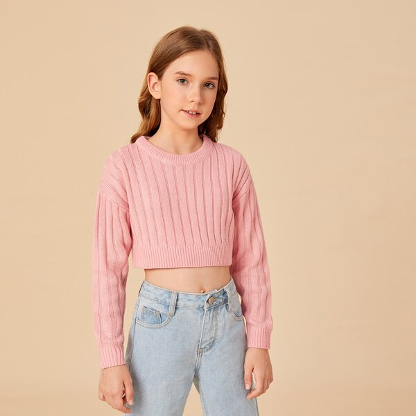 Girls Ribbed Knit Drop Shoulder Crop Sweater, Baby pink