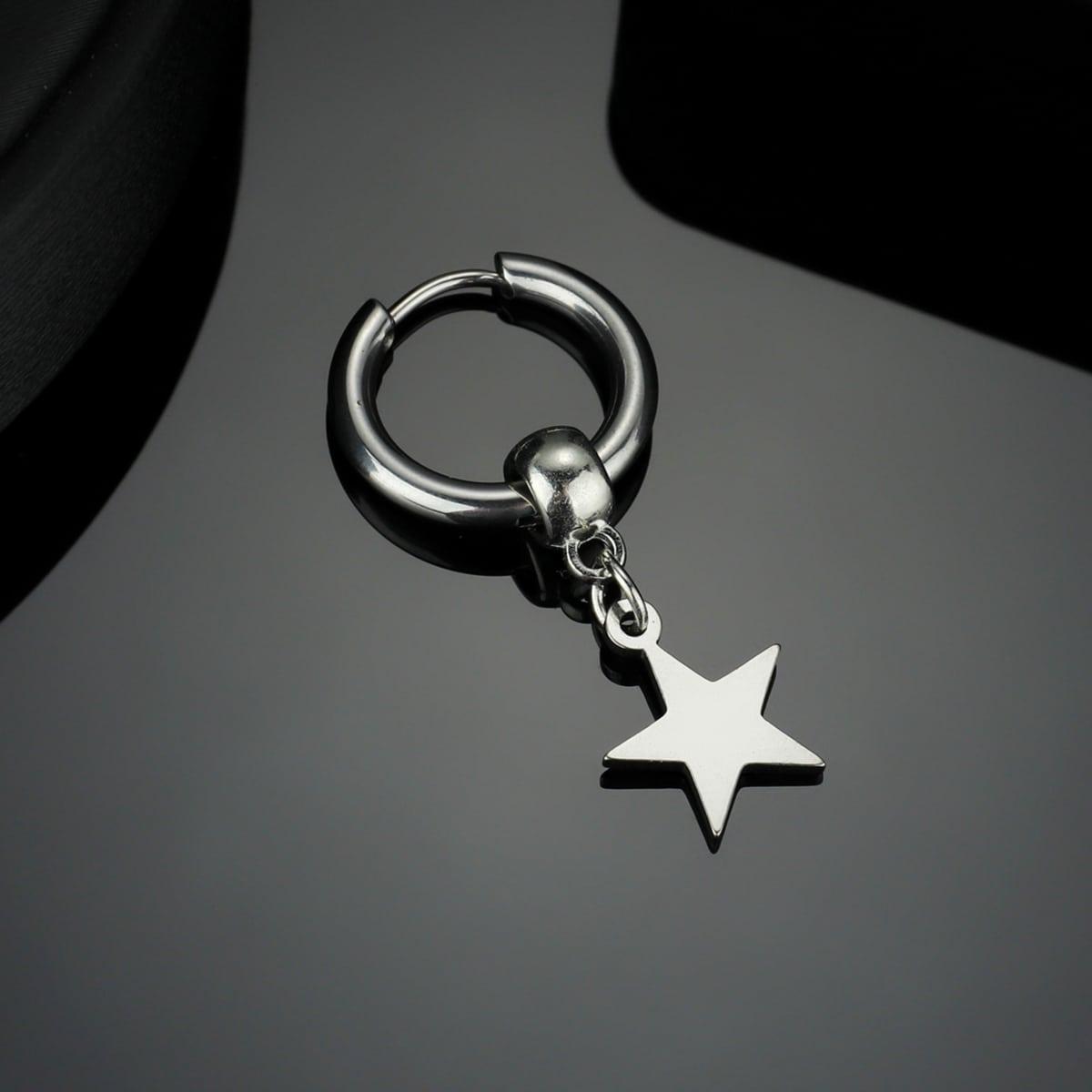 Мужской 1шт Серьга со звездой
