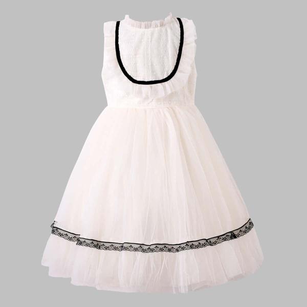 Girls Ruffle Neck Lace Trim Mesh Hem Party Dress, Beige