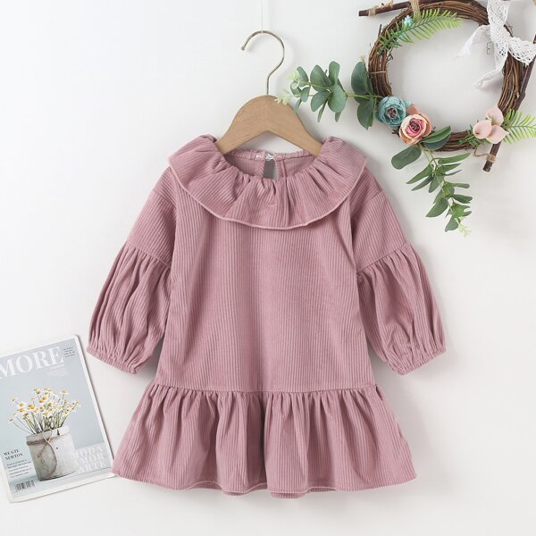Baby Lantern Sleeve Ruffle Trim Smock Dress, Dusty pink
