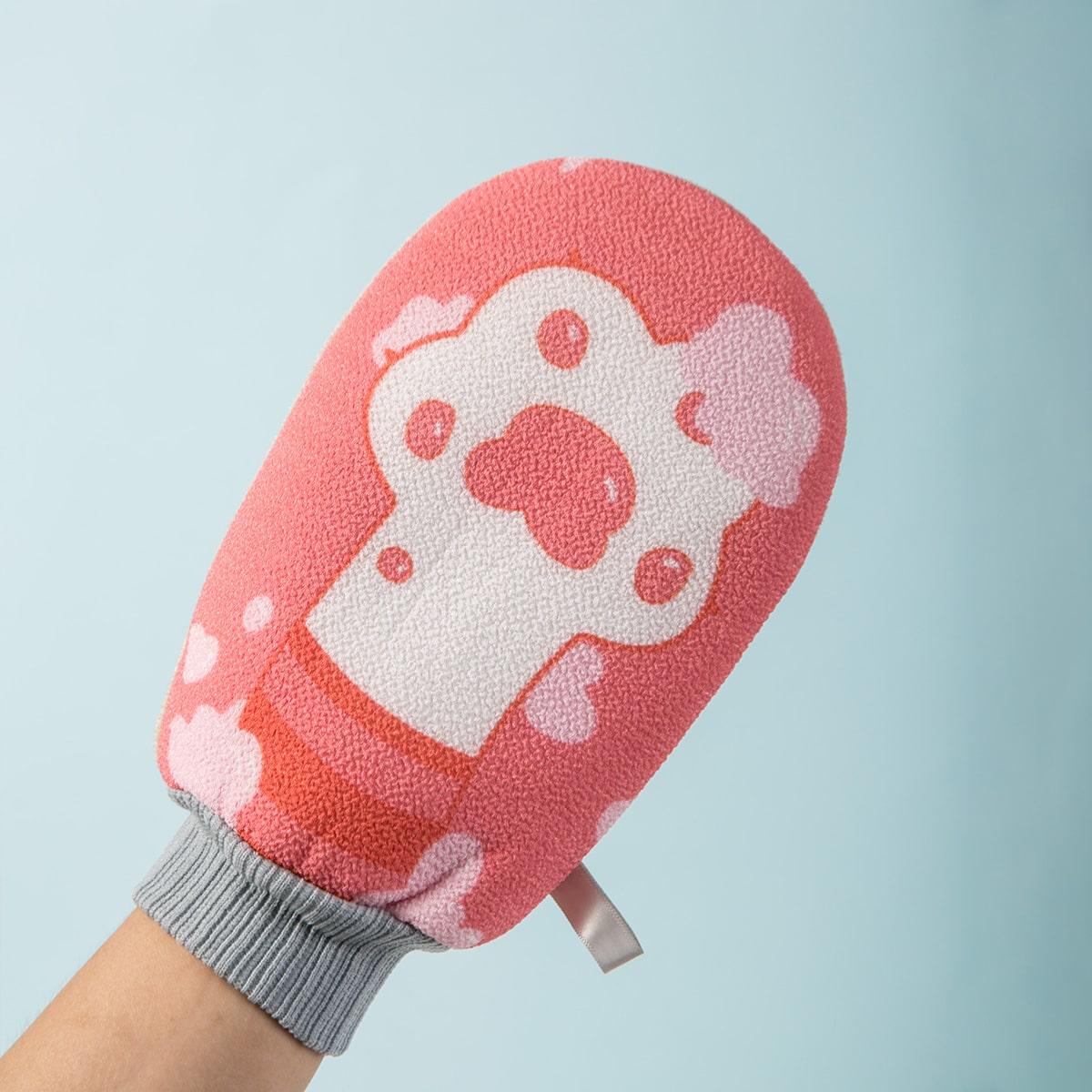 Paw Print Exfoliating Bath Glove, SHEIN  - buy with discount