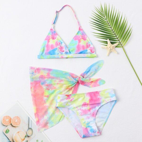 3pack Girls Tie Dye Triangle Halter Bikini Swimsuit & Cover Up Skirt, Multicolor