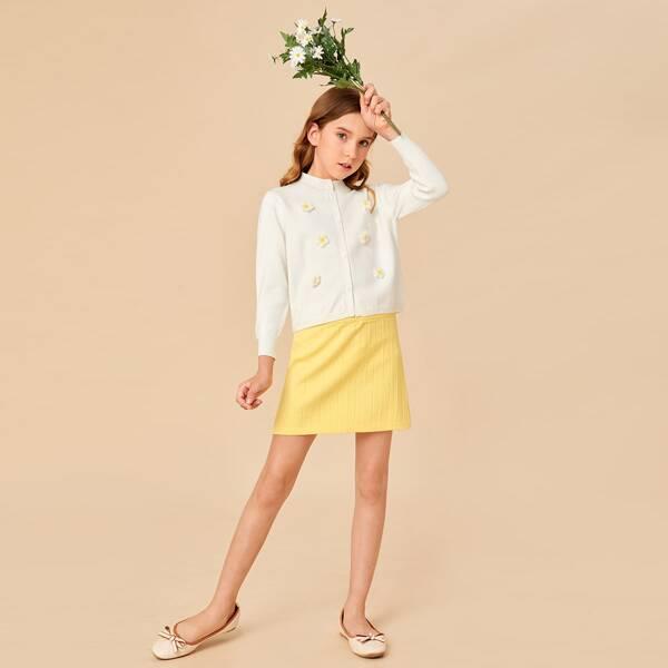 Girls Floral Pattern Cardigan & Knit Skirt, White