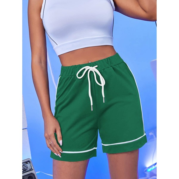 Contrast Binding Drawstring Waist Track Shorts, Green
