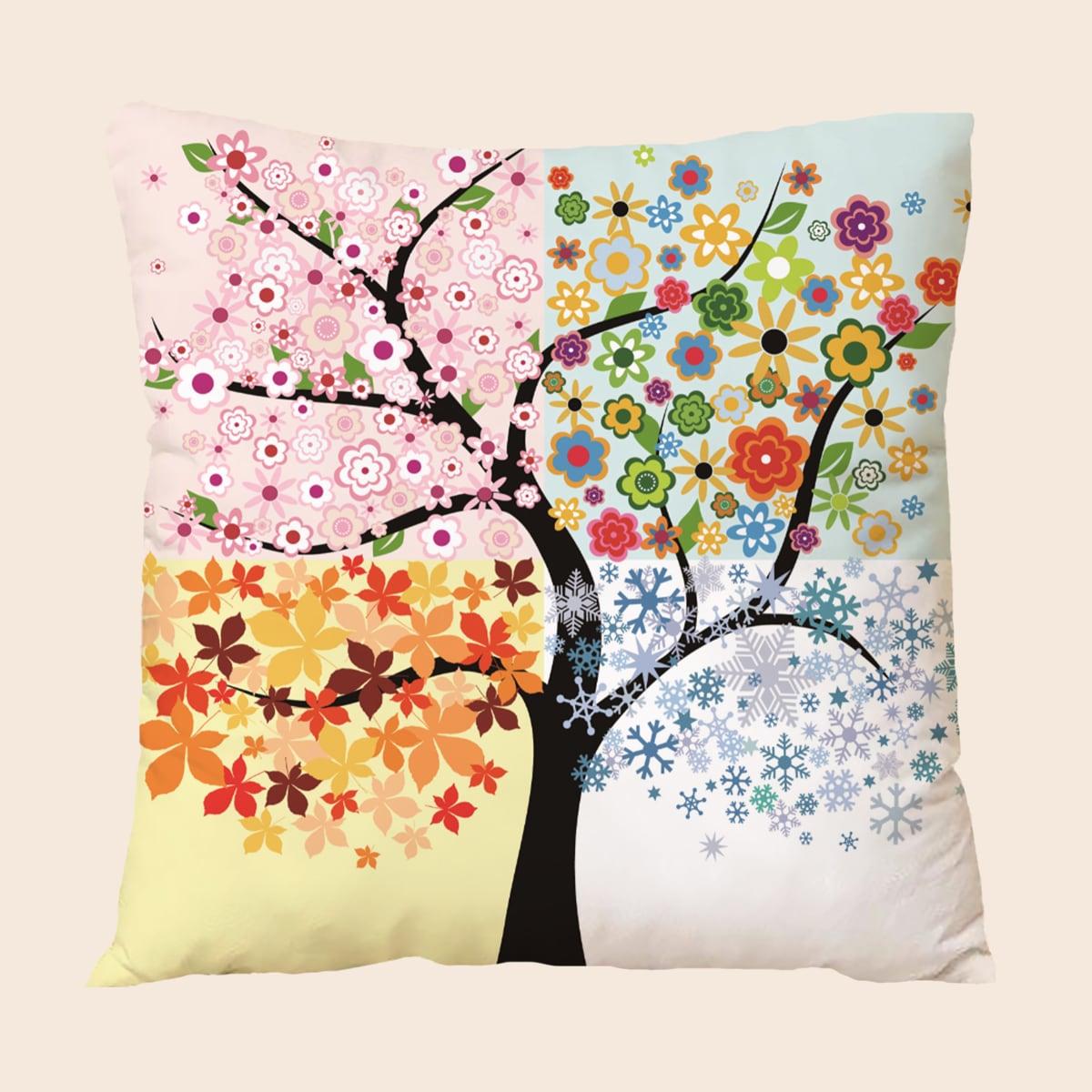 Чехол для подушки без наполнителя с принтом дерева
