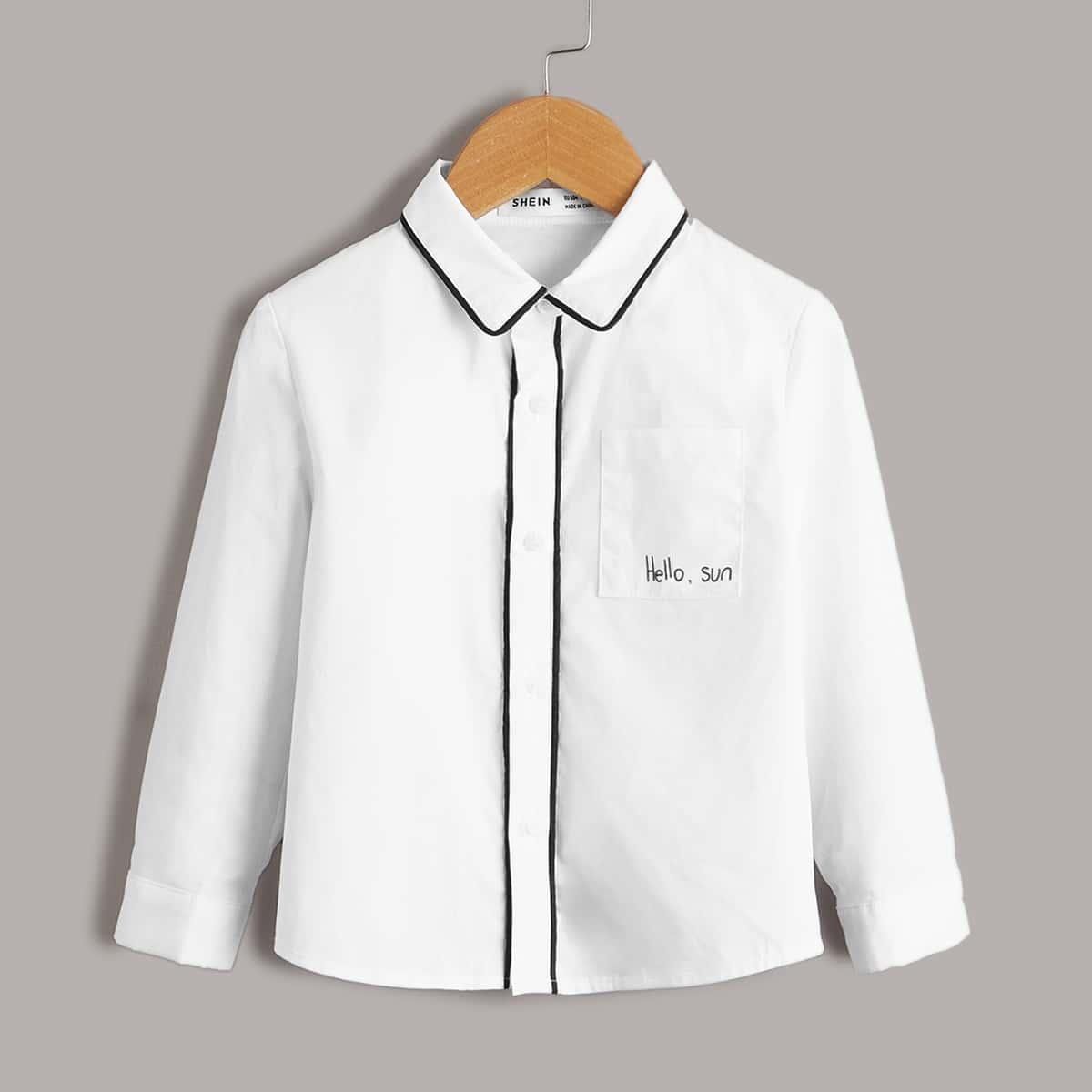 Рубашка с текстовым рисунком для мальчиков
