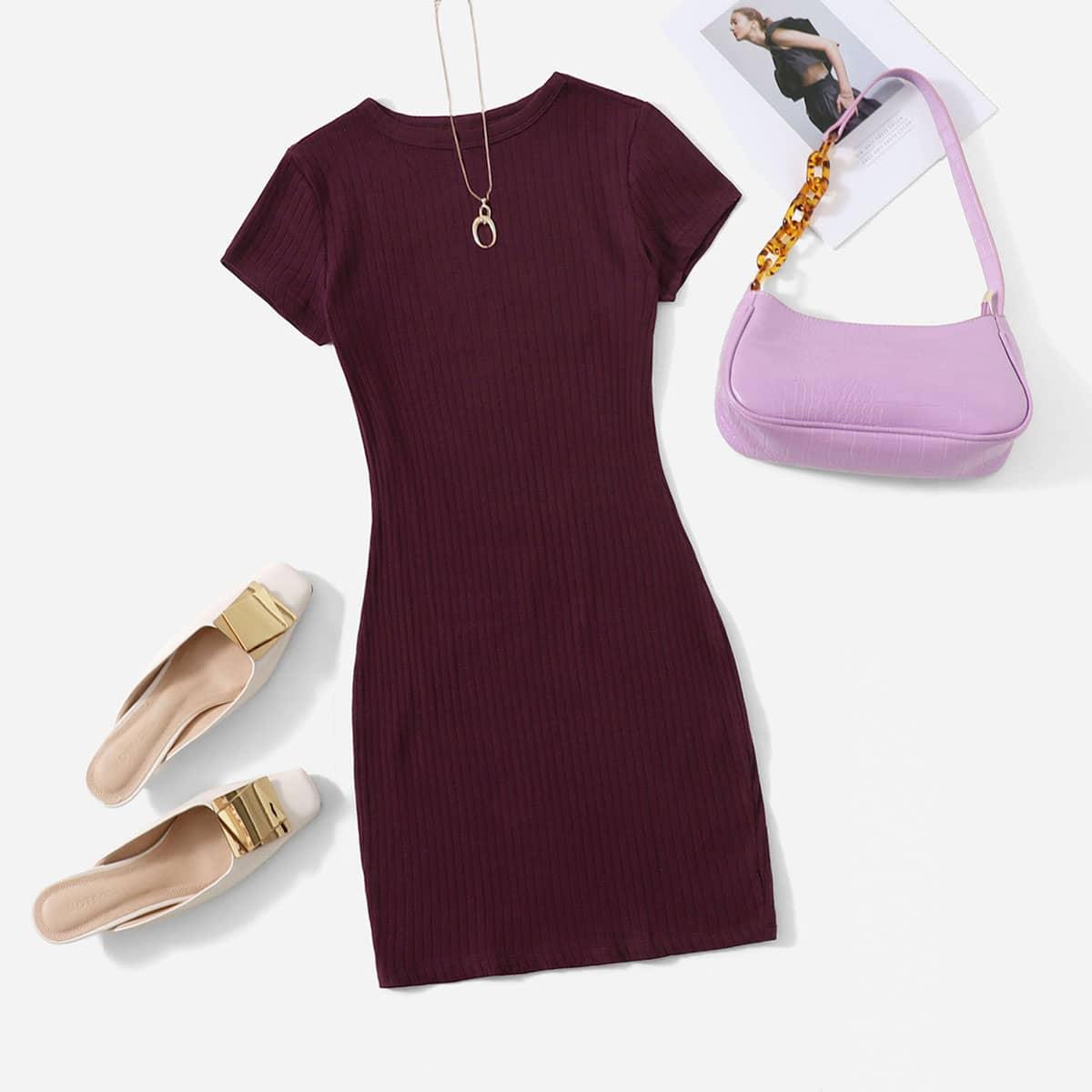 Вязаное платье в рубчик SheIn sS2012280059155703