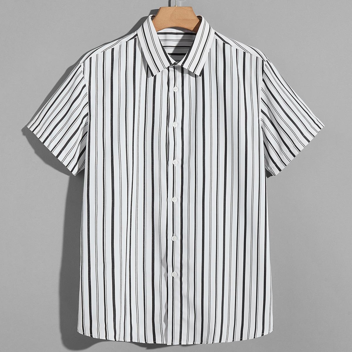 Мужской Рубашка в полоску на пуговицах SheIn sm2106193013839119