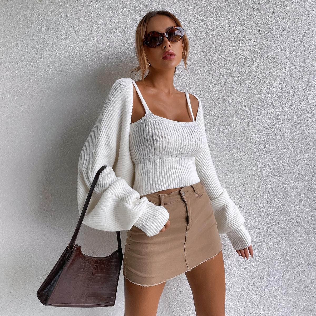 Rib-knit Cami Top & Batwing Sleeve Rib-knit Crop Cardigan Set
