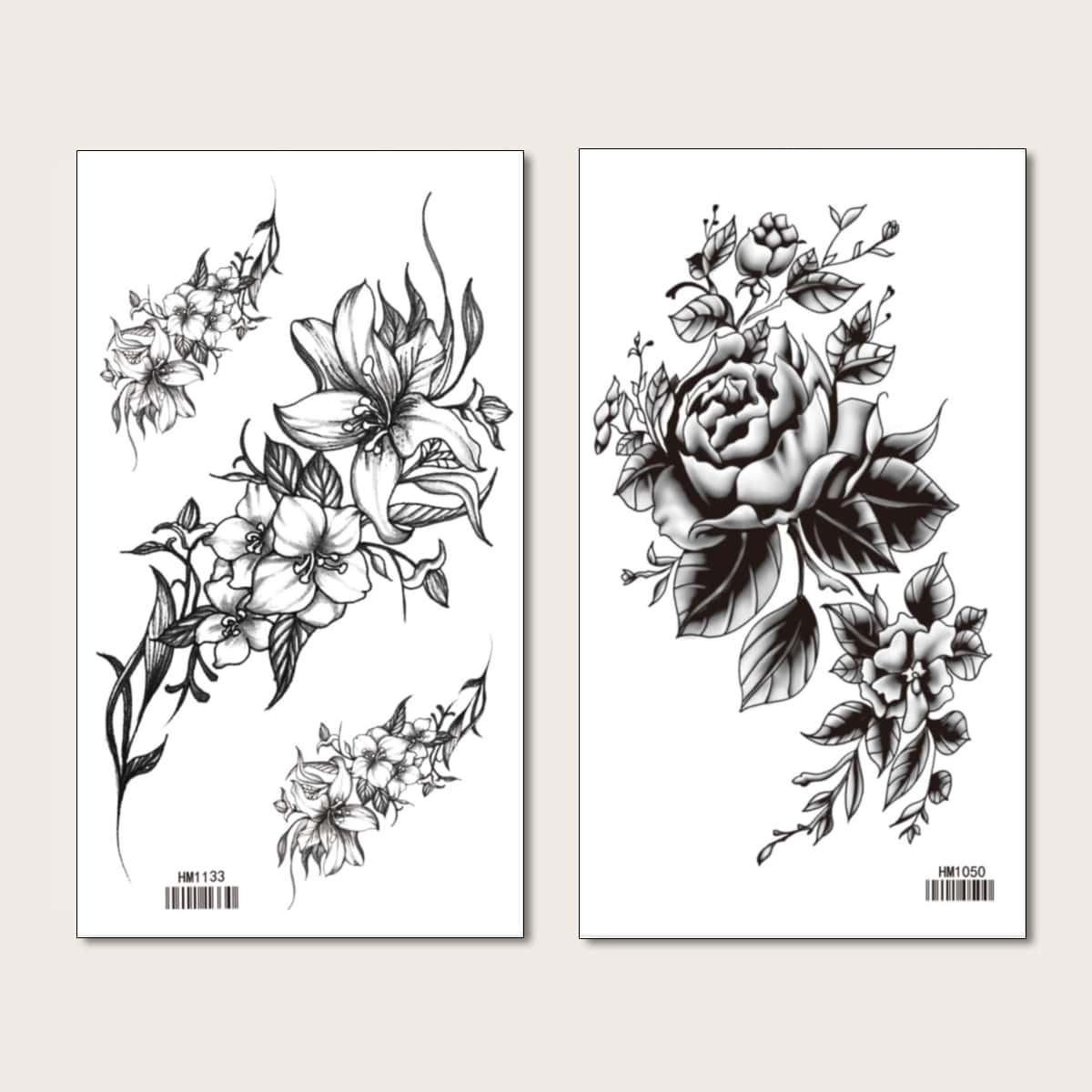 2 листа Тату-наклейка с цветочным узором