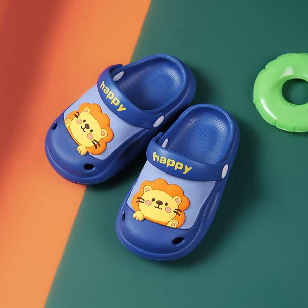 Toddler Boys Cartoon Pattern Clogs, Royal blue