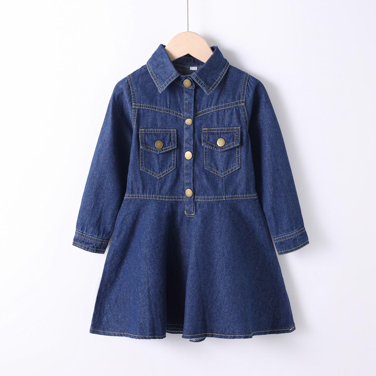 для девочек на пуговицах Джинсовая рубашка Платье SheIn sk2107058449174521
