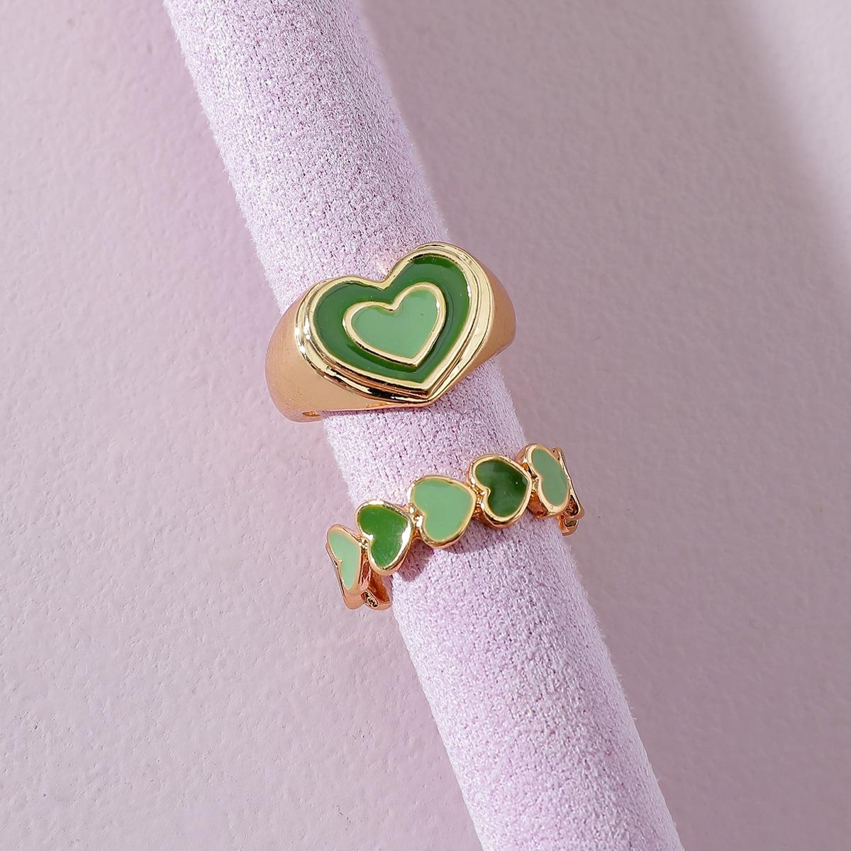 2шт Кольцо с сердечком