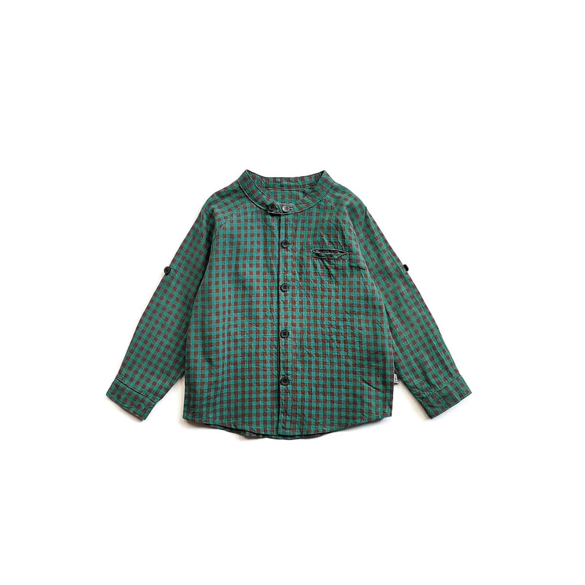 для мальчиков Рубашка с воротником-стойкой в клетку