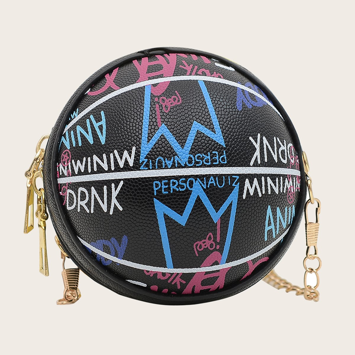 Girls Letter Graphic Ball Design Crossbody Bag