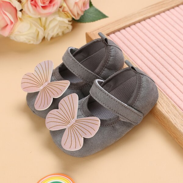 Baby Butterfly Appliques Flats, Grey