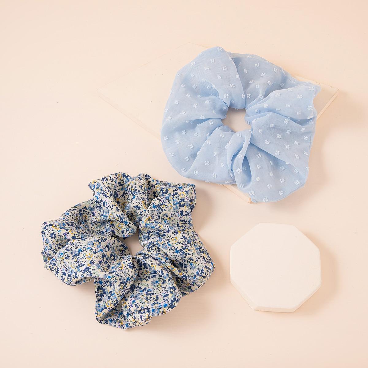 2шт Простая плиссированная резинка для волос SHEIN. Цвет: синий