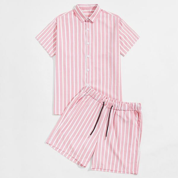 Men Striped Print Button Front Shirt With Drawstring Waist Shorts, Baby pink