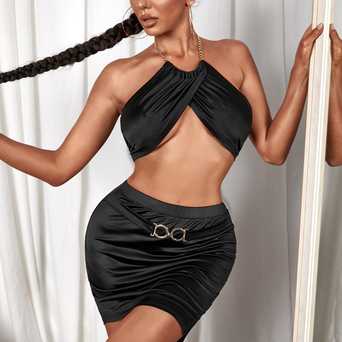 Tie Back Crop Halter Top With Bodycon Skirt
