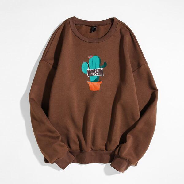 Cactus And Slogan Graphic Thermal Sweatshirt, Rust brown
