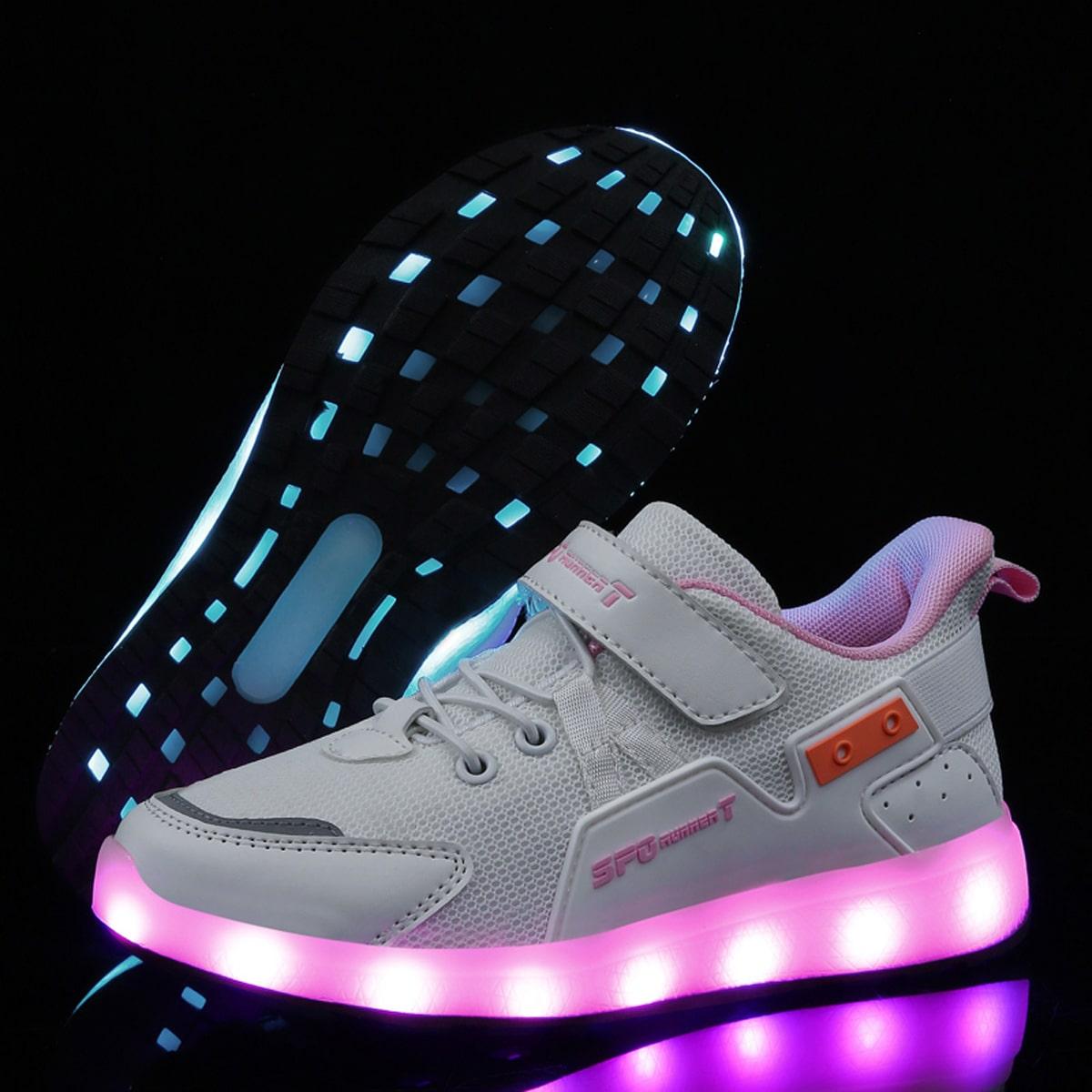Кроссовки для девочек с сетчатой вставкой и лампой LED от SHEIN