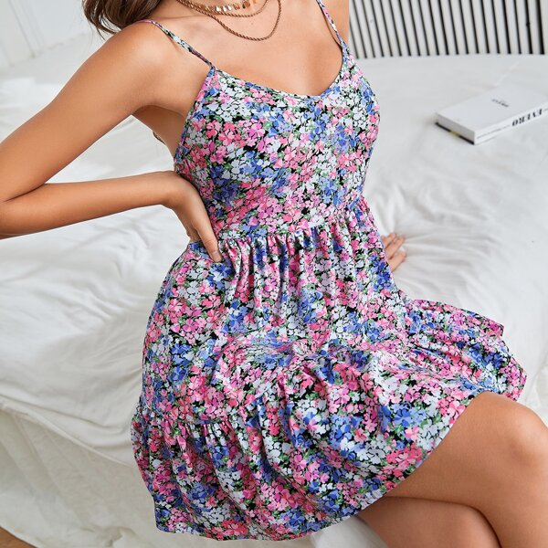 Ditsy Floral Ruffle Hem Backless Cami Dress, Multicolor