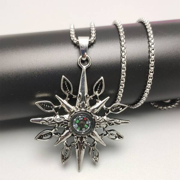 Men Compass Charm Necklace, Antique silver