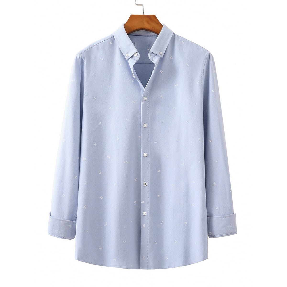 Мужская рубашка с текстовой вышивкой