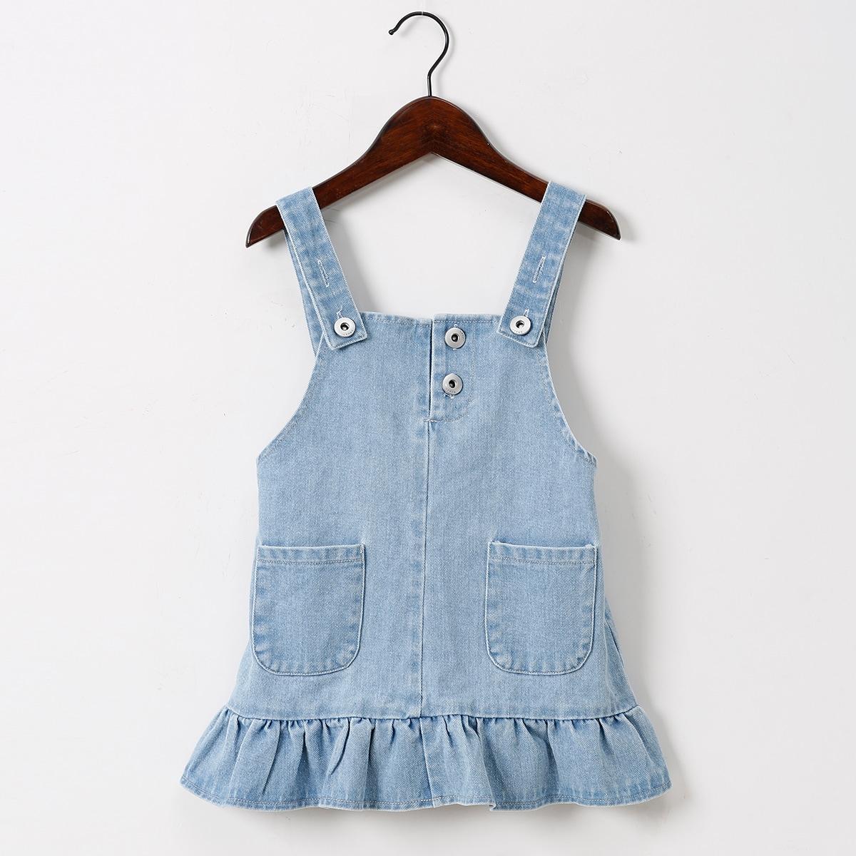 для девочек Платье-сарафан с карманами с оборками джинсовый SheIn sK210513183946633