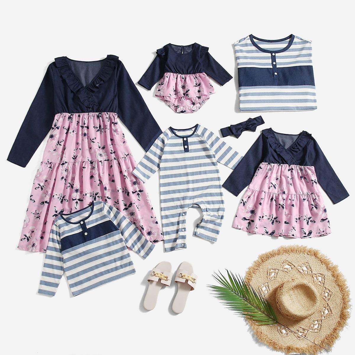 Комбинированное платье с цветочным принтом с оборкой SheIn sw2107055334835999