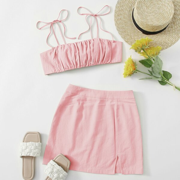 Knot Shoulder Tie Back Ruched Bust Crop Cami Top & Split Hem Skirt Set, Baby pink
