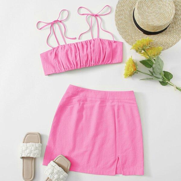 Knot Shoulder Tie Back Ruched Bust Crop Cami Top & Split Hem Skirt Set, Hot pink