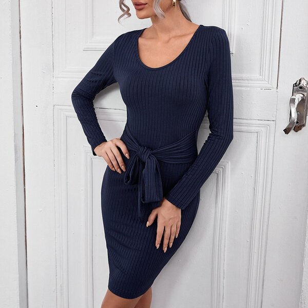 Knot Front Scoop Neck Ribbed Knit Bodycon Dress, Navy blue