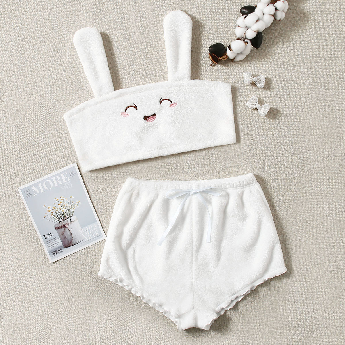 Cartoon Embroidery Flannel Cami Top & Shorts Night Set